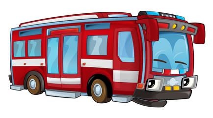Cartoon transportation firetruck - illustration for children