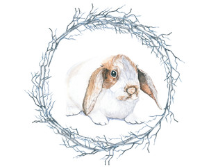 Rabbit wreath circle. The beautiful hand-painted, animals, pastel color, print for Easter