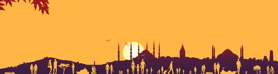 Istanbul and crowded people silhouettes