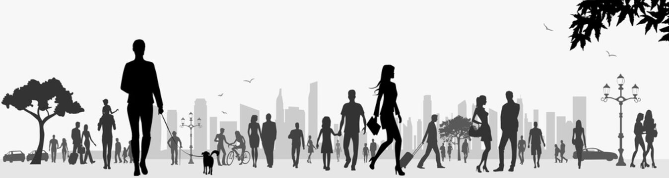 Cityscape human silhouettes