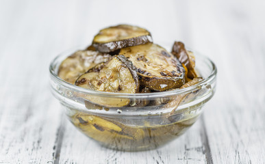 Grilled Zucchinis (selective focus) on vintage wooden background