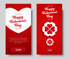 Design vertical banners Happy Valentine's Day.