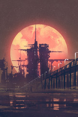night scenery of futuristic city with red planet on background,illustration painting