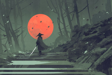 Samurai standing on stairway in night forest with the red moon on background,illustration painting Wall mural