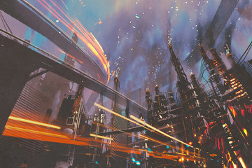 sci-fi scenery of futuristic city with industrial buildings,illustration painting Fototapete