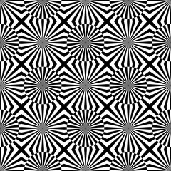 Abstract vector seamless op art pattern. Monochrome graphic blac