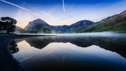 Morning mist on Buttermere, The Lake District, Cumbria, England