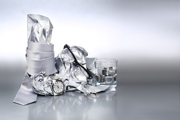 Sexy and fashionable set, silver accessories for man Outfit of b