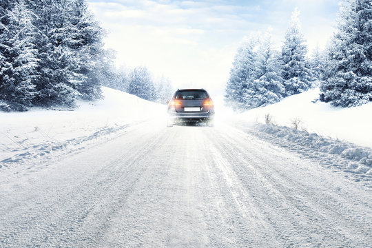 winter car and snow road