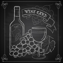 Hand drawn white wine card template design on chalkboard backgro
