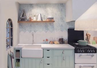 detail of interior of spring kitchen