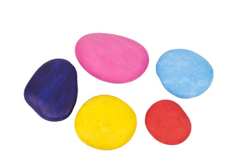Colourful pebbles isolated on a white background