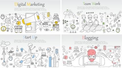Doodle line design of web banner templates with outline icons of start up, digital marketing, team work, blogging.Vector illustration concept for website or infographics.
