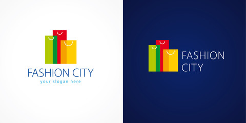 Fashion city logo. Template logo for the shopping center in the shape of high-rise buildings of colorful bags. Online fashion store sign, shop and  gifts symbol. Set of colored sopping packages.