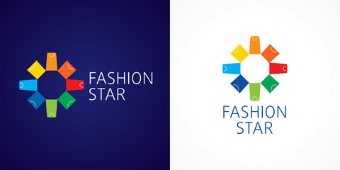 Fashion star branding vector logo. Template sign for shopping center in the shape of flowers of colorful shopping bags. Online store icon, shop and gifts symbol. Set of colored packages and presents.