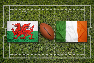 Wales vs. Ireland flags on rugby field