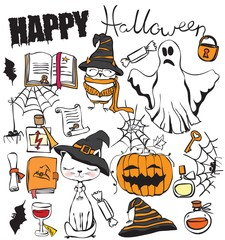 Vector hand drawn illustrations collection of Halloween party .