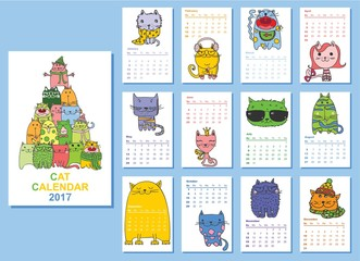 Calendar 2017. Cute cats for every month. Vector. Isolated.