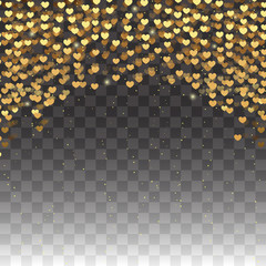 Gold glitter particles effect for Valentine's day luxury greeting card. Vector