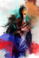Beautiful girl, pretty model, art style, dust splash