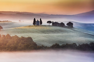 Tuscany church on the hill