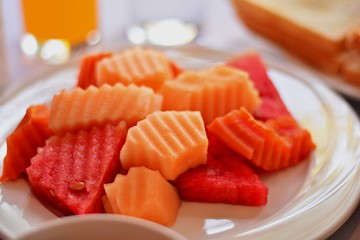 Watermelon and cantaloupe for breakfast and other meals for good health.