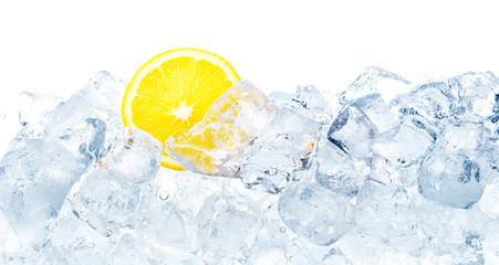 Ice and lemon background.