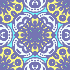 Vector seamless pattern with bright ornament. Tile in Eastern style. Ornamental lace tracery. Ornate swirl geometrical decor for wallpaper. Traditional arabic mosaic design
