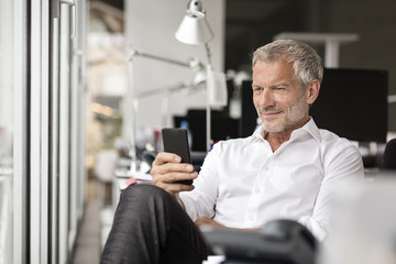 Smiling businessman looking on cell phone in office