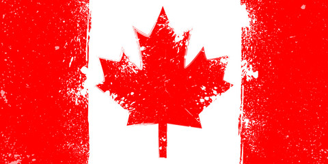 Grunge flag of Canada with splash and spots
