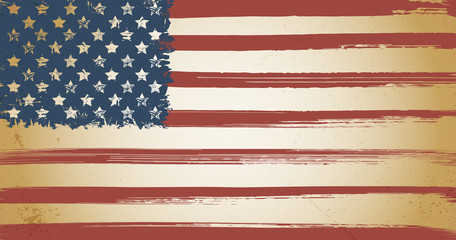 American themed vintage flag background with ink grunge elements