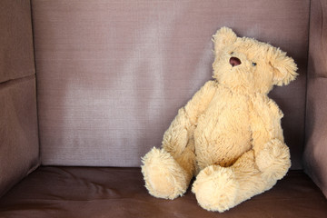 brown bear doll sitting on brown background