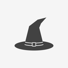 Tall witch hat monochrome icon. Vector illustration.