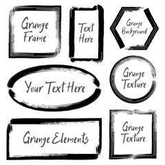 Set of ink grunge frames. Hand drawn brush stroke template for d