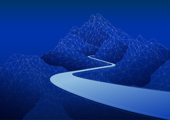 mountain road polygon background, vector design