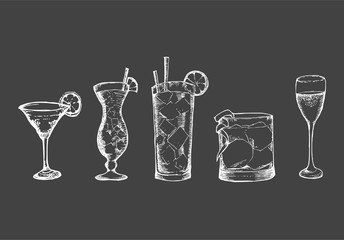 Vector hand drawn illustration with drinks. Sketch chalkboard