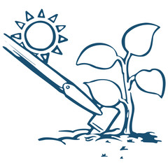 A hoe tilling the soil next to a plant with a sun in the distance.
