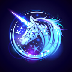 Unicorn head logo concept, with stars and neon glowing