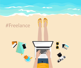 Freelance. Girl laying on the beach and typing on laptop. Top view. Hand drawn vector illustration. Freelancer life. Desktop with mobile, notebook, camera, pictures and credit cards. Work and rest.