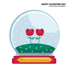 Illustration vector isolated of couple rose in snow globe on Valentine Day concept on Valentine Day concept.