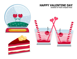 Illustration vector isolated set of red velvet cake slice , couple glass of Italian strawberry soda with cherry and couple rose in snow globe on Valentine Day concept on white background.