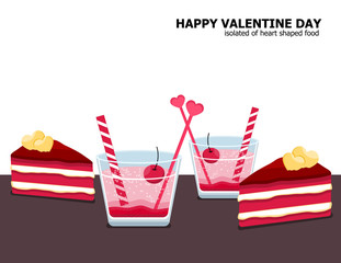 Illustration vector dessert and gift set on table of red velvet cake slice , couple glass of Italian strawberry soda with cherry on Valentine Day concept.