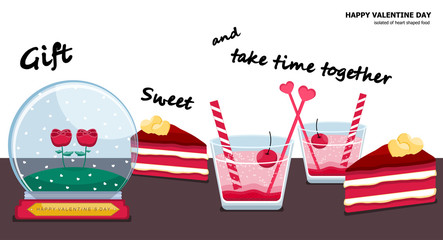 Illustration vector dessert and gift set on table of red velvet cake slice , couple glass of Italian strawberry soda with cherry and couple rose in snow globe on Valentine Day concept.