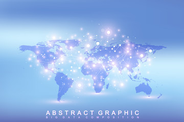 Geometric graphic background communication with world map big data see more gumiabroncs Images