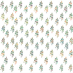 Seamless Botanical pattern. Colored leaves on a white background. Watercolor painting. Background with leaves.