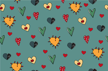 Seamless pattern with hearts. Hand-drawn colored hearts. Ornament for Valentine's day.