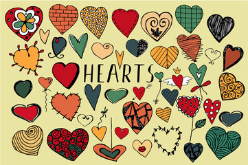Set of elements for Valentine's day. Colored hearts. Doodles. Hand-drawn elements.