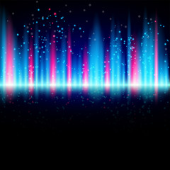 Abstract shiny blue and red background with particles