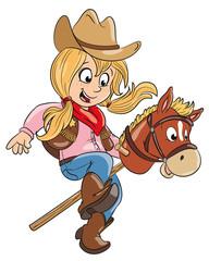 Vektor Illustration eines kleinen Cowgirls