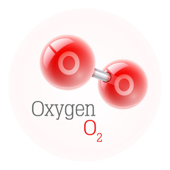 Chemical model of oxygen molecule. Assembly elements